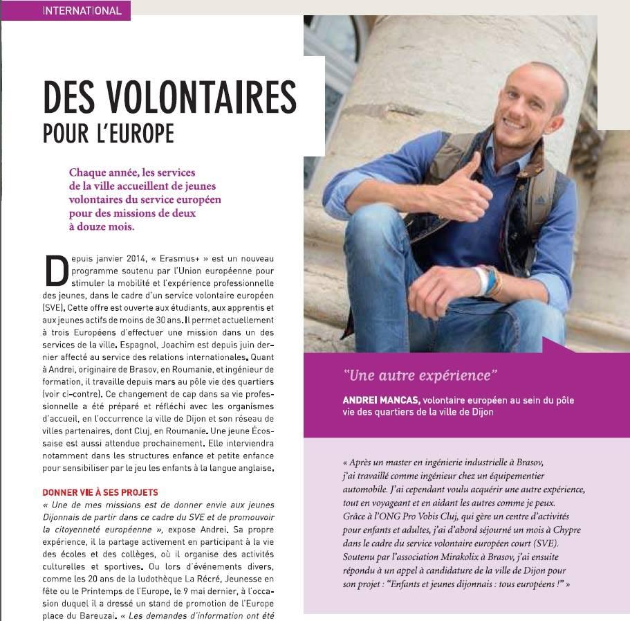 Stagiu gratuit de voluntariat – 12 luni în Dijon, Franța